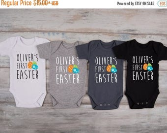 LATE SHIP SALE My First Easter Personalized Baby Boy Outfit, 1st Easter Outfit, Easter Baby Boy Clothes, Baby Boy Easter Outfit, Easter Eggs