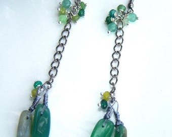 Green and yellow agate earrings