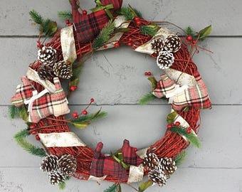 CHRISTMAS SALE Scotty Dog Christmas Grapevine Wreath Red Plaid Ribbon Rustic