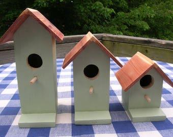 Cedar Birdhouses - Sage Green, Decorative, Set of 3 - Porch, Patio, Deck, Garden - Indoor, Outdoor Birdhouses