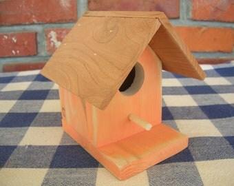 Cedar Birdhouse - Orange, Decorative - Garden, Porch, Outdoor, Deck Patio