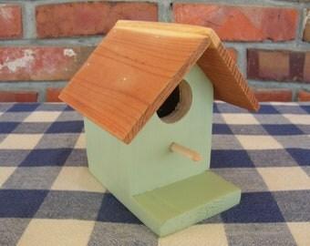 Cedar Birdhouse - Light Sage Green, Small, Decorative - Garden, Porch, Patio, Outdoor, Indoor Birdhouse