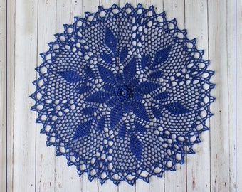"Crochet doily Blue Flower, Lace doily with flower, diameter 17,3 "" (44 cm)"