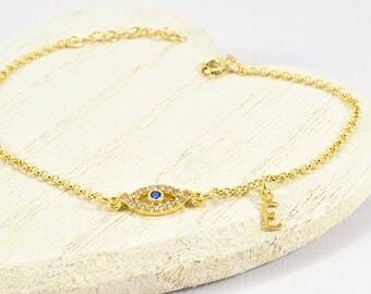 Initial Evil Eye Bracelet, Greek Evil Eye Bracelet, Evil Eye Bracelet, Greek Letter Bracelet, Evil Eye Jewelry, Bracelet with Gold Evil Eye