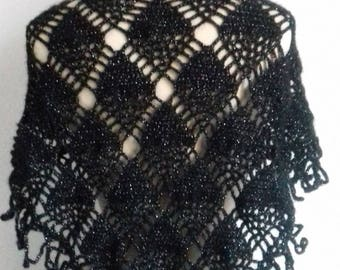 "With a diamond pattern and fringe is handmade crocheted shawl ""Chenoa"" black rhinestone silver"