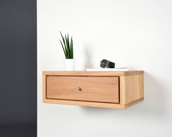 Bedside table / Bedside table small with drawer / Mid-century Floating Oak modern Style Night Stand / Retro hand made bedroom furniture
