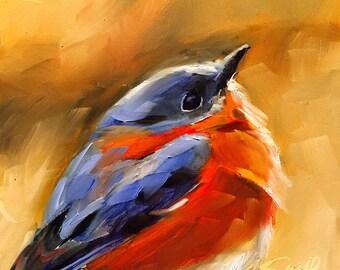 bluebird of happiness // bluebird art // blue bird painting // original art // original painting // original bird painting // bird art