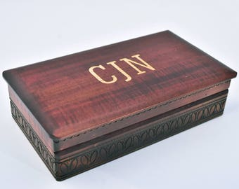 Dark Rectangular Box, Monogram Wood Box, Personalized box, Engraved Dark Box, Hinged Lid Box, Gifts for Him, Wood Storage, Decorative Box