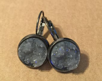 Grey Druzy Dangle Earrings - Gunmetal Settings