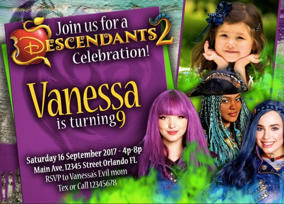 35 OFF Coupon On Birthday Invitation Disney Descendants 2 Girls