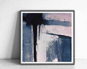 Abstract printable art, Navy blue brush strokes and light pink, Modern art prints, Abstract paintings instant download , pink abstract art