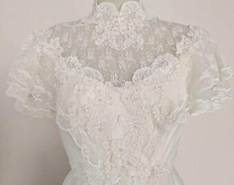Vintage Handmade 1970s High Neck Flutter Sleeve Wedding Dress V-016