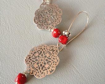 Bohemian earrings, Moorish-inspired, red Lampwork Glass and silver metal, creating Leamorphoses