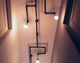 Cast iron pipe chandelier 4 bulbs