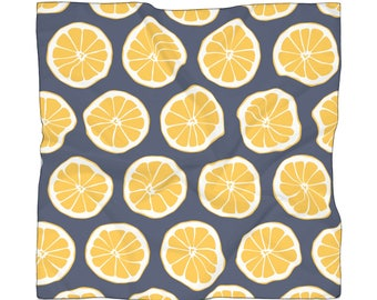 Lemons, Scarf, Lemonade, Oversized Scarf, Scarves, Chiffon Scarves, Summer Scarves, Printed Scarf, Fashion Scarf, Navy and Yellow
