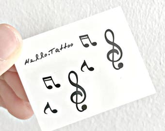 Musical Notes - Temporary Tattoos // Cute // Music Player Buttons // Tumblr Style // Summer // Party