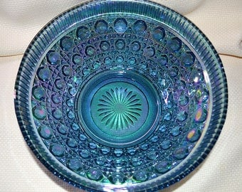 Indiana Glass Blue Carnival Glass Bowl, Blue Carnival Glass Serving Bowl, Indiana Glass Blue Windsor Glass Serving Bowl