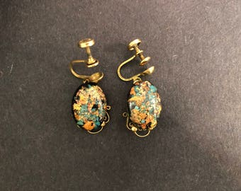 Vintage 14K Gold Earrings with Millefiori Murano Glass from Italy