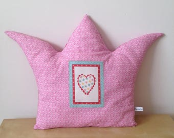 Cushion Crown cotton pink hearts and dots - Princess pillow - girl room decoration.