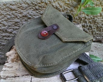 Vintage Khaki Canvas Belt Bag, Traditional Bulgarian Military Belt Bag, Ammo Pouch, Small Hunting Bag from 1970s