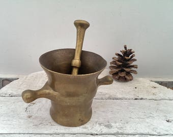 Antique 1900s Bronze Mortar with Pestle, Vintage Apothecary Mortar with Pestle, Rustic Home Decor, Gift Idea