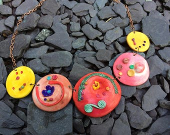 Colorful, handmade jewelry, polymer clay necklace, copper chain