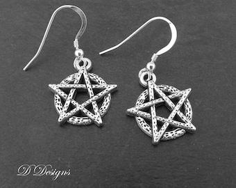 Pentagram Earrings, Wiccan Earrings, Pagan Earrings, Pentagram Jewellery, Sterling Silver Earrings, Pentagram Gifts