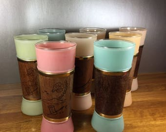 Siesta Ware Glass Tumblers with Wood Wraps 8pc