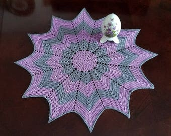 Orchid and Grey Ripple Stitch Doily