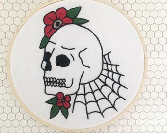 Skull and Flowers with Cobwebs Handmade Embroidery