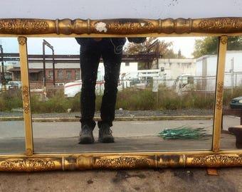 Distressed Vintage Gold Gilt Mirror