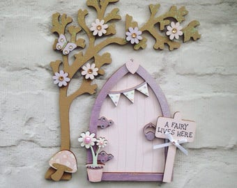 Lovely Lilac & Pale Pink Fairy Door with Tree