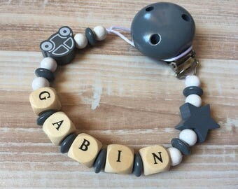 Pacifier clip-pacifier with name Tylian wooden beads