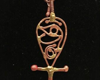 Eye of Heru filigree Ankh pendant