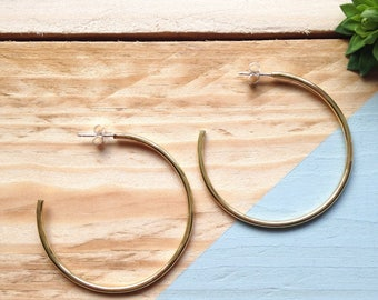Brass hoop earrings | Handmade hoop earrings in solid brass and sterling silver | Recycled packaging | Brighton UK.