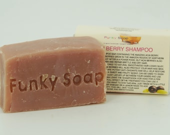 1 piece Amazing Acai Berry Shampoo Bar, 100% Natural Handmade 65g