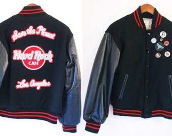 80s Hard Rock Cafe Bomber Jacket Vintage Save The Planet Los Angeles California Leather Wool Mens Small