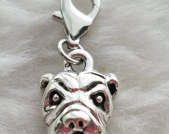 Pewter Bulldog Charm - Clip-On - Ready to Wear