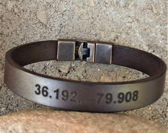 FREE SHIPPING-Latitude Longitude Leather Bracelet,Unisex Custom Wristband,Engrave GPS Cuff,Personalize Leather Bracelet,Men Leather Bracelet