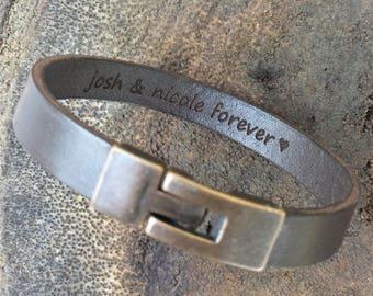 FREE SHIPPING-Bracelet For Men,Custom Men Bracelet,Personalize Leather Bracelet,Unisex Custom Bracelet,Leather Band Engraved,Custom Men Cuff