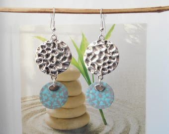 Earrings turquoise grey sequin Medal
