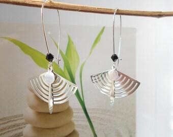 Earrings silver fan print