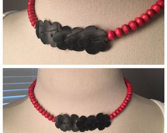 Repurposed bike inner tube necklace