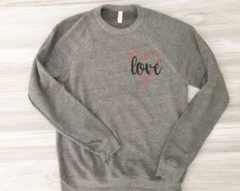 Heart with Love Sweatshirt - Fleece wide neck sweatshirt - Valentine's Apparel - Valentine's Sweatshirt - Women's Valentine's Apparel