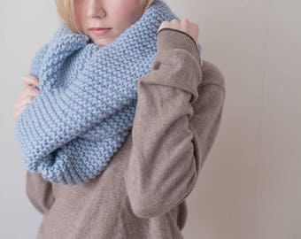 100% virgin wool light blue Chunky Knit Scarf with pompoms, long winter scarf.