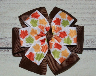 Leaves Hair Bow Brown Leaves Hair Bow Girl Hair Bow Fall /Autumn Hair Bow Pinwheel Hair Bow Pinwheel Hair Clip Thanksgiving Hair Bow