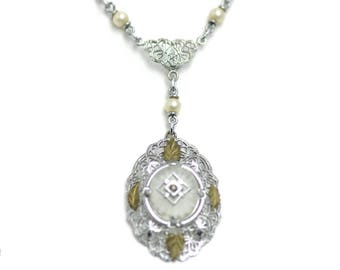"Vintage 1920s Camphor Glass, Rhinestone, Imitation Pearl, and Sterling Silver Filigree Y-Shaped 16"" Choker Necklace"