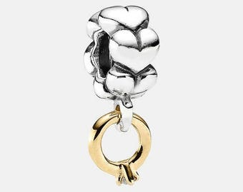 "Pandora  ""I Do"" Diamond  Sterling Silver & 14k Gold Dangle Charm  Comes in Hinged Pandora Charm Box"