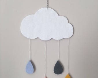 Mobile cloud colored pink, blue, grey and mustard yellow felt