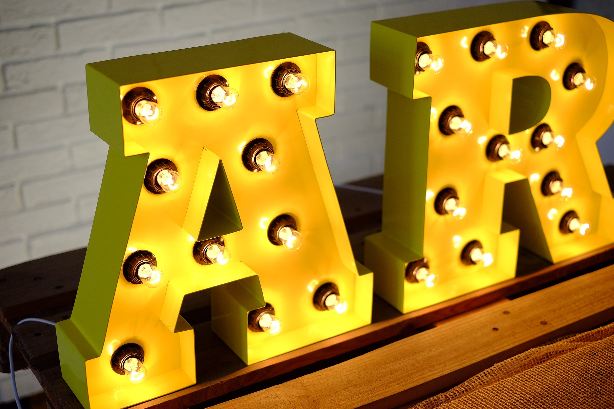 Retro sign - metal letters with bulbs - industrial style home decor ...